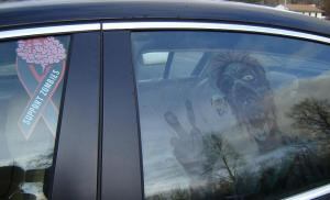 zombie on car
