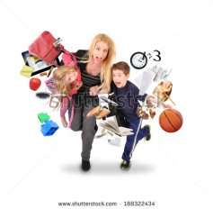 stock-photo-a-mother-is-late-for-school-and-work-while-rushing-with-her-children-for-a-funny-stress-concept-on-188322434