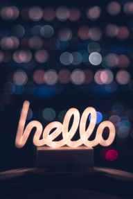 white hello led signage